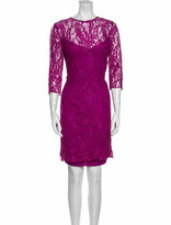 Thumbnail for your product : CARMEN MARCH Lace Pattern Knee-Length Dress Purple