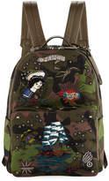 Valentino Embroidered Tattoo Camu Backpack