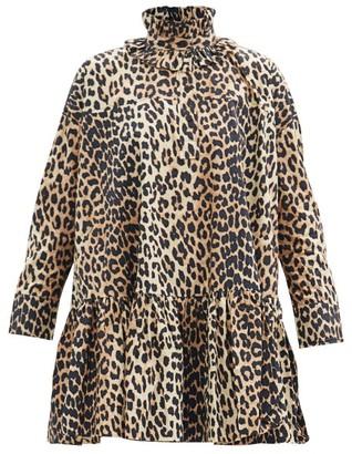 Ganni Ruffle-neck Leopard-print Organic-cotton Dress - Leopard