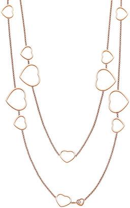 Chopard Happy Hearts 18k Rose Gold Diamond Long Station Necklace