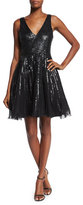 Parker Theater Sleeveless Sequined Fit & Flare Dress