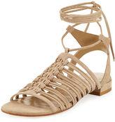 Stuart Weitzman Knotagain Lace-Up Flat Sandal