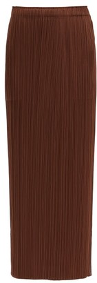 Pleats Please Issey Miyake Technical-pleated Midi Skirt - Dark Brown