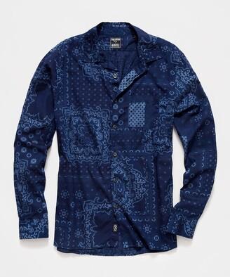 Todd Snyder Italian Indigo Bandana Print Camp Collar Shirt in Navy