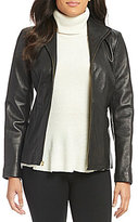 Cole Haan Wing-Collar Zip-Front Leather Jacket