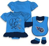 NFL Tennessee Titans Size 12M 3-Piece Girl Creeper Bib and Bootie Set