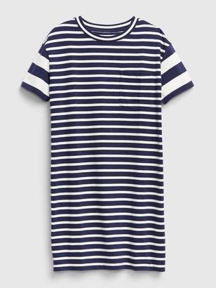 Gap Striped Short Sleeve Pocket T-Shirt Dress