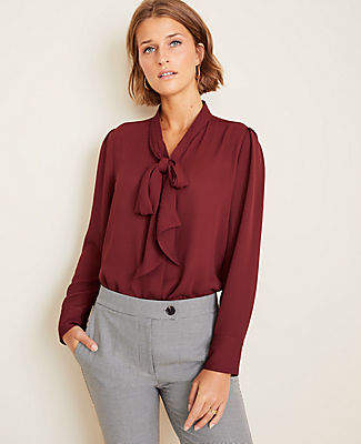 Ann Taylor Tall Houndstooth Bow Neck Blouse