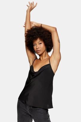 Topshop Womens Black Cowl Neck Camisole Top - Black