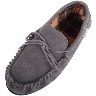 SNUGRUGS George Mens Suede Moccasin with Checked Cotton Inner and Rubber Sole - Navy - UK 12