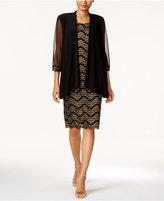 R & M Richards Petite Metallic Knit Dress and Jacket