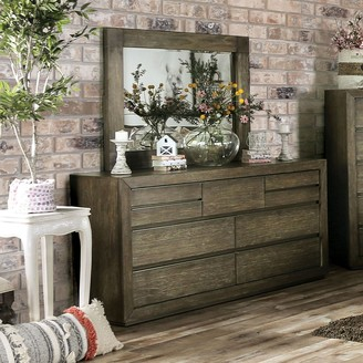 Furniture of America Puly Transitional Walnut Dresser and Mirror Set