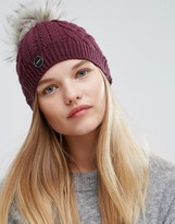 Calvin Klein Knitted Pom Pom Hat in Bordeaux