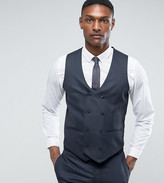 Asos Tall Wedding Skinny Suit Waistcoat In Blue Mirco Woven Texture