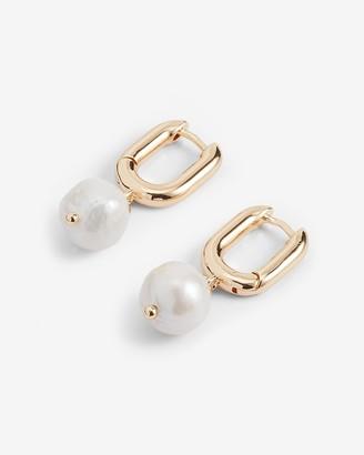 Express Pearl Paperclip Drop Earrings