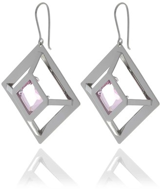 Georgina Jewelry Silver Pink Square Crystal Earrings