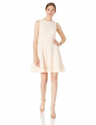 Calvin Klein Women's Petite Sleeveless Cotton Eyelet Fit and Flare Dress