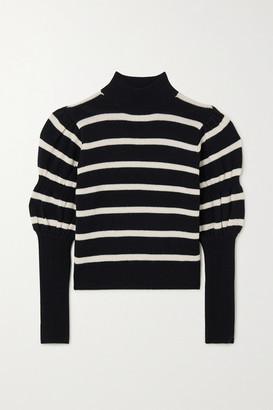 Derek Lam 10 Crosby Elani Cropped Striped Merino Wool Sweater - Black