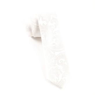 Tie Bar Organic Paisley White Tie