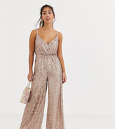 Little Mistress Petite sequin jumpsuit in mink