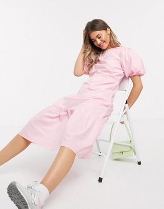 Influence cotton poplin tiered hem midi dress in pink