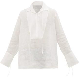 Loewe Half-buttoned Slubbed-linen Shirt - Mens - White
