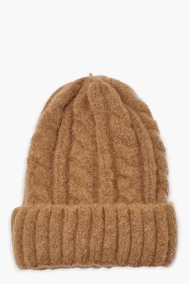 boohoo Chunky Mixed Marl Cable Knit Beanie