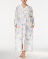 Charter Club Plus Size Printed Cotton Knit Zip-Front Long Robe, Only at Macy's