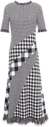 Oscar de la Renta Paneled Checked Jacquard Midi Dress