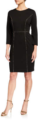 Karl Lagerfeld Paris Ponte Contrast Piping Dress