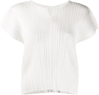 Pleats Please Issey Miyake Micro-Pleated Short-Sleeve Top