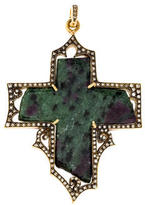 Cathy Waterman 22K Ruby In Zoisite & Diamond Cross Pendant