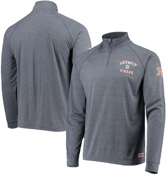 Stitches Men's Heathered Navy Detroit Tigers Team Quarter-Zip Raglan Pullover Jacket