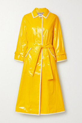 Thom Browne Belted Glossed-pu Trench Coat - Yellow