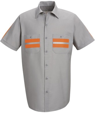Red Kap Men's Enhanced Visibility Shirt with Gripper at Neck and Short Sleeve