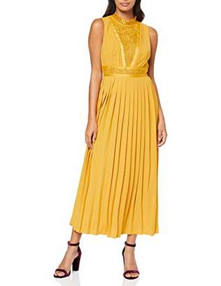 Little Mistress Women's Penelope Spice Gold Lace-Trim Midaxi Dress Party, Yellow 001, 6 (Size:6)