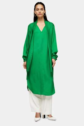 Topshop Womens **Green Pussybow Dress By Green