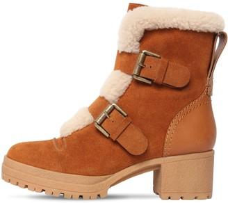 See by Chloe 40mm Brandie Suede & Fur Ankle Boots