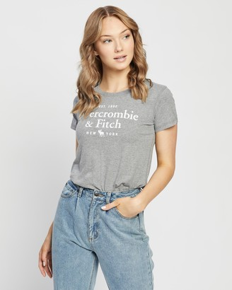 Abercrombie & Fitch Women's Grey T-Shirts - Short Sleeve Moose Logo Tee - Size XS at The Iconic