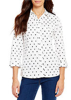 Allison Daley Y-Neck Button Front Printed Woven Shirt
