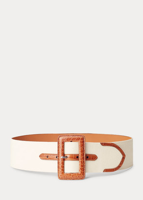Ralph Lauren Calfskin-Trim Canvas Belt