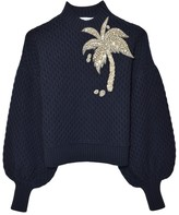 Dice Kayek Crystal Palm Tree Sweater in Navy