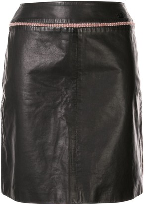 Chanel Pre Owned Tweed Detail Leather Skirt