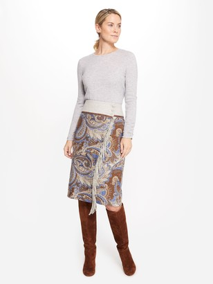 J.Mclaughlin Ines Cashmere Skirt in Regatta Paisley