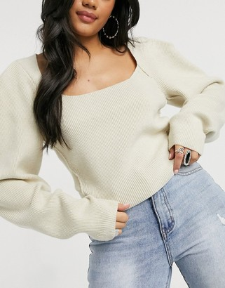 Free People Saffron fitted sweater in beige