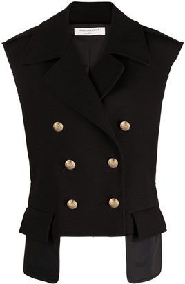 Philosophy di Lorenzo Serafini Double-Breasted Cotton-Virgin Wool Blend Gilet