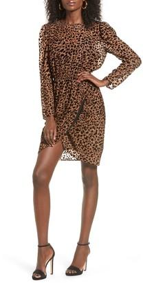 J.o.a. Leopard Print Long Sleeve Dress