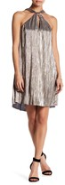 Lush Knotted Neck Foil Pleated Dress