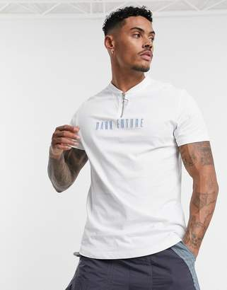 Asos Design DESIGN zip neck t-shirt with dark future logo and curved hem-White