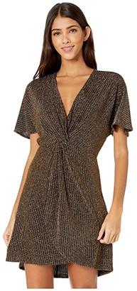 Show Me Your Mumu Get Twisted Mini Dress (Gold Me Up Stripe) Women's Dress